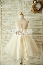 Light Champagne Lace Tulle Sheer Back Wedding Flower Girl Dress with Beaded Belt