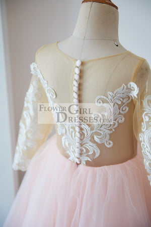 Long Sleeves Ivory Lace Pink Tulle Sheer Back Wedding TUTU Flower Girl Dress