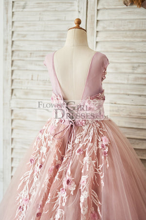 Mauve Lace Tulle 3D Flowers V Back Wedding Flower Girl Dress