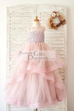Mauve Lace Tulle Floor Length Wedding Flower Girl Dress