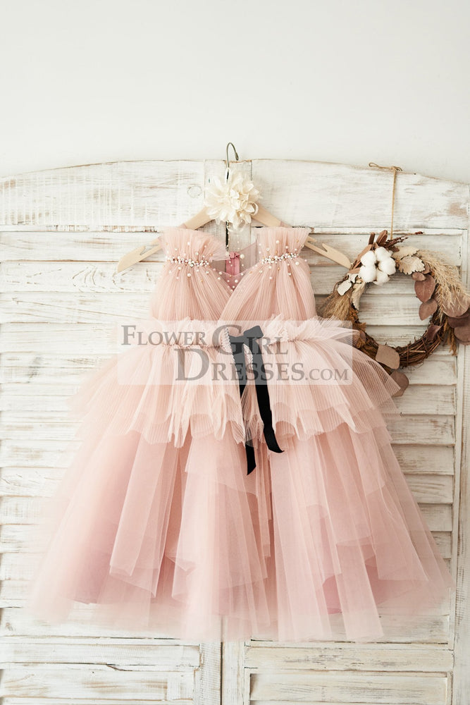 Mauve Tulle V Neck Wedding Flower Girl Dress with Beading