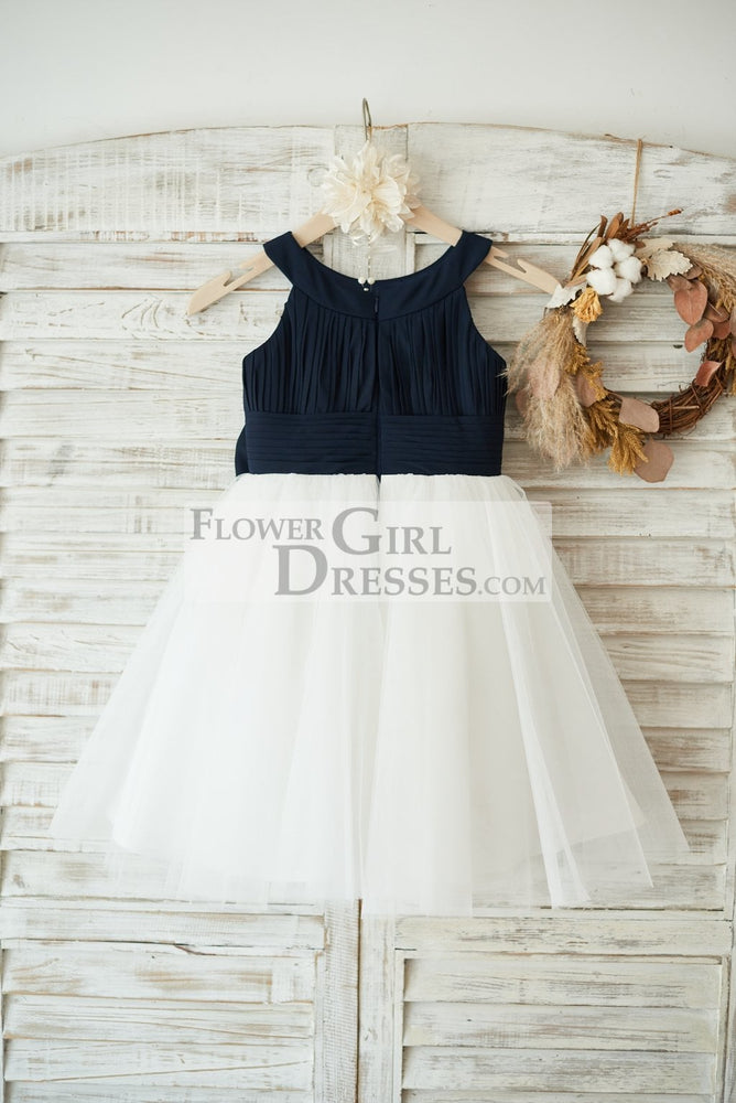 Navy Blue Chiffon Ivory Tulle Halter Neck Wedding Flower Girl Dress with Bow