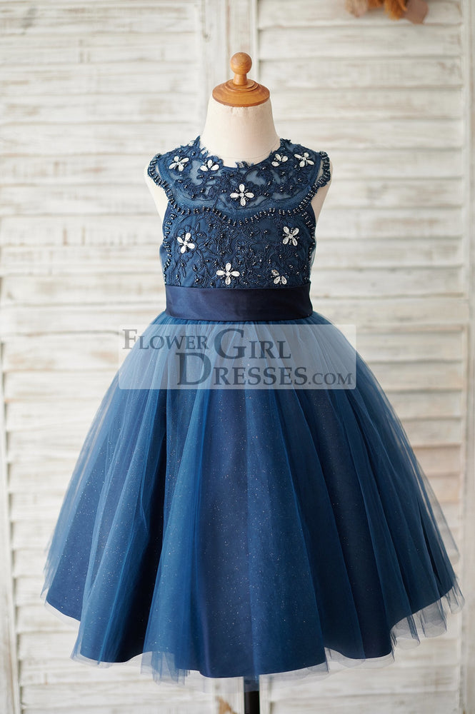 Navy Blue Lace Glitter Tulle Beaded Cross Back Wedding Flower Girl Dress