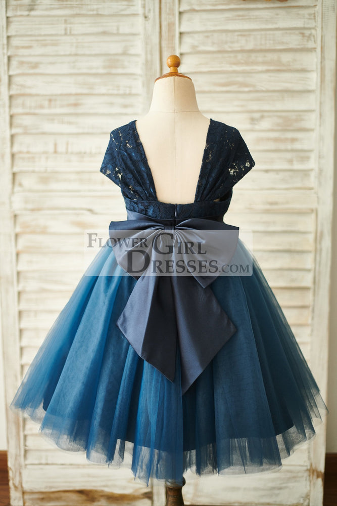 Navy Blue Lace Tulle Cap Sleeves Wedding Flower Girl Dress with Bow