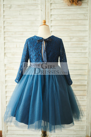 Navy Blue Lace Tulle Long Sleeves Wedding Flower Girl Dress