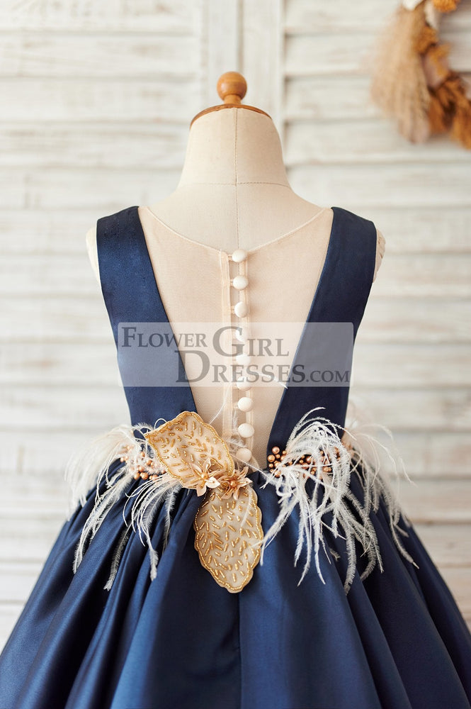Navy Blue Satin V Neck Wedding Party Flower Girl Dress