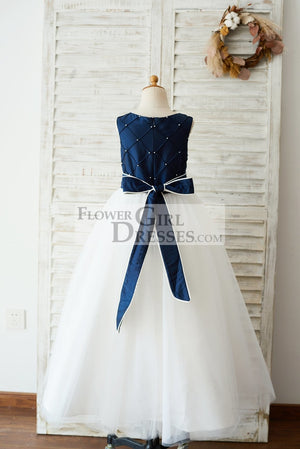 Navy Blue Taffeta Ivory Tulle Wedding Party Flower Girl Dress with Pearls