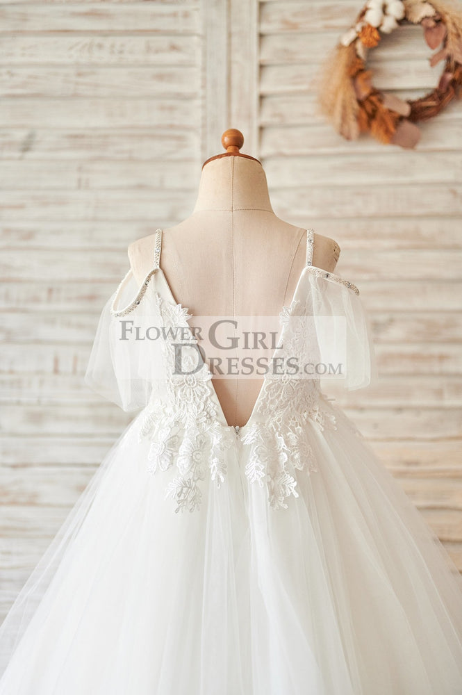 Off Shoulder Ivory Lace Tulle Ball Gown Wedding Flower Girl Dress