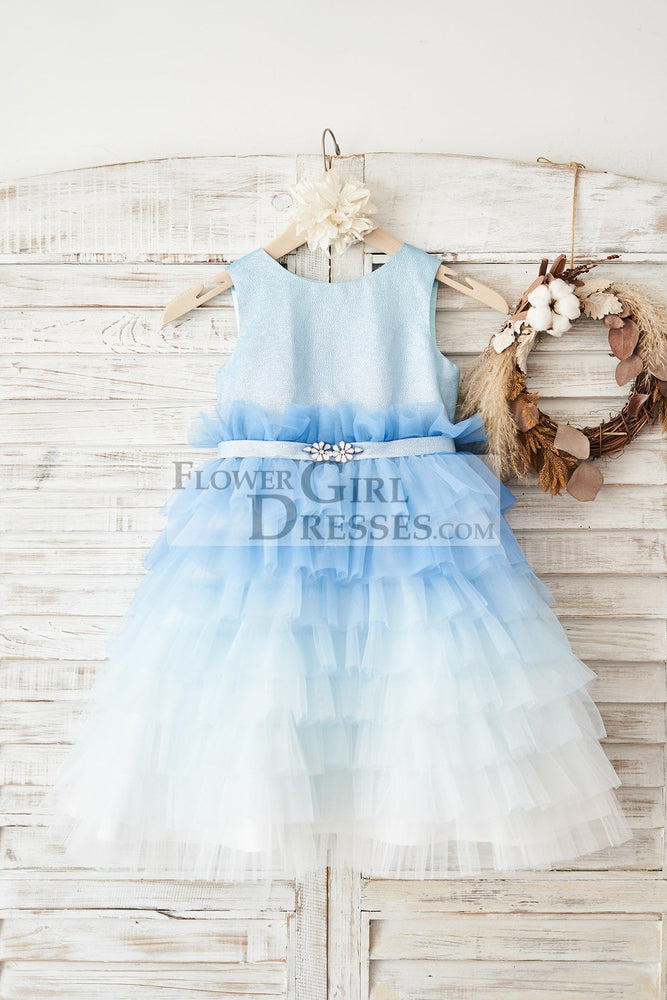 Ombre Blue Glittering Tulle Cupcake Wedding Flower Girl Dress