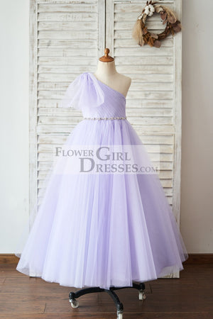 One Shoulder Beaded Lavender Tulle Wedding Flower Girl Dress