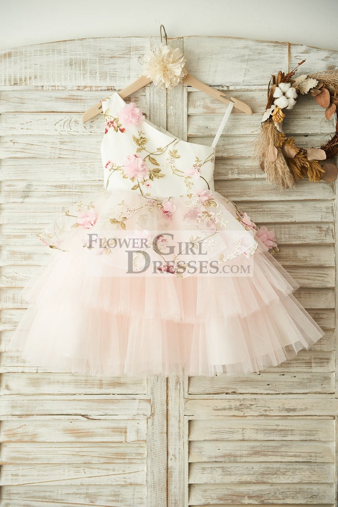 One Shoulder Floral Organza Pink Tulle Cupcake Wedding Flower Girl Dress