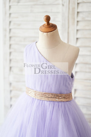 One Shoulder Hi-Low Lavender Tulle Wedding Flower Girl Dress