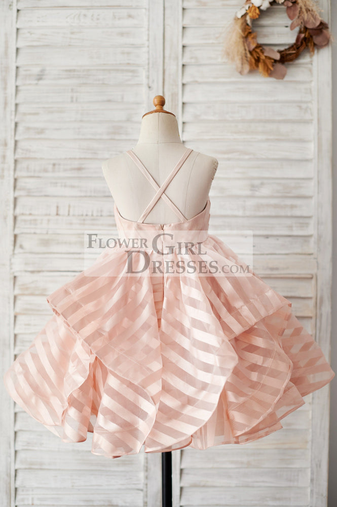 Peach Pink Stripe Organza Spaghetti Straps Wedding Flower Girl Dress