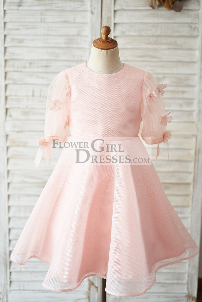 Pink Neoprene Short Sleeves Wedding Flower Girl Dress