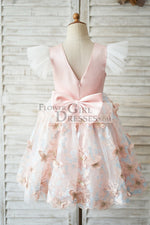 Pink Satin Butterfly Tulle Ruffle Cap Sleeves V Back Wedding Flower Girl Dress