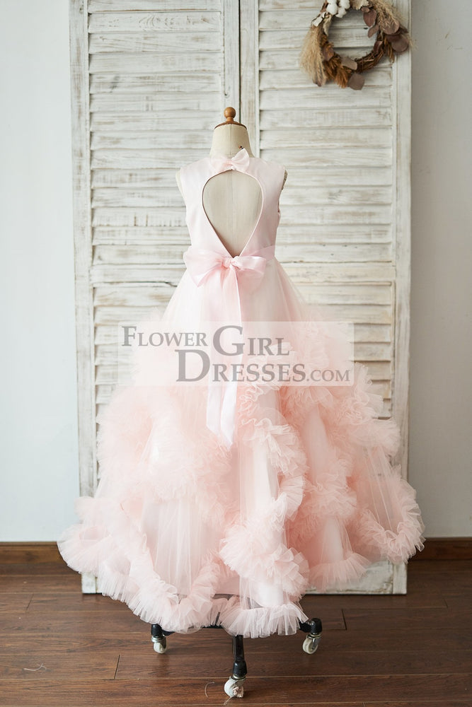 Pink Satin Tulle Keyhole Back Ruffles Wedding Flower Girl Dress