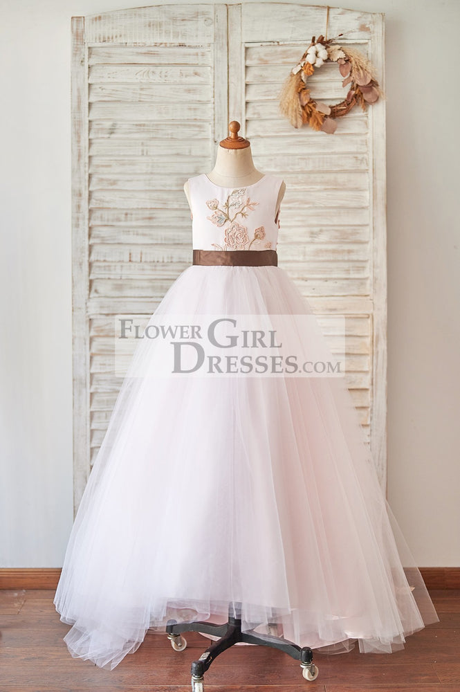 Pink Satin Tulle U Back Wedding Flower Girl Dress with Embroidery Lace