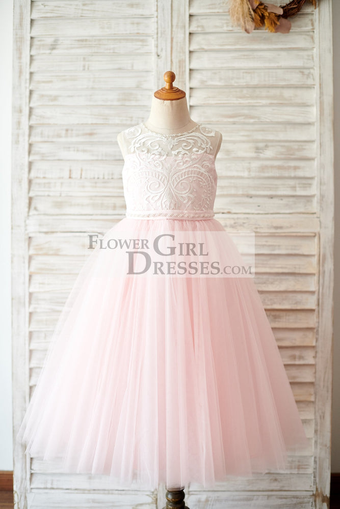 Princess Keyhole Back Ivory Lace Pink Tulle Wedding Flower Girl Dress