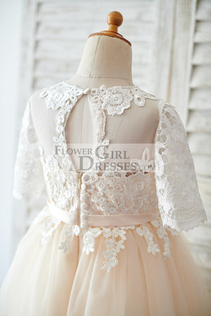 Princess Short Elbow Sleeves Ivory Lace Champagne Tulle Wedding Flower Girl Dress