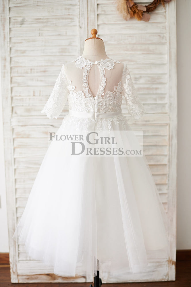 Princess Short Elbow Sleeves Ivory Lace Tulle Wedding Flower Girl Dress