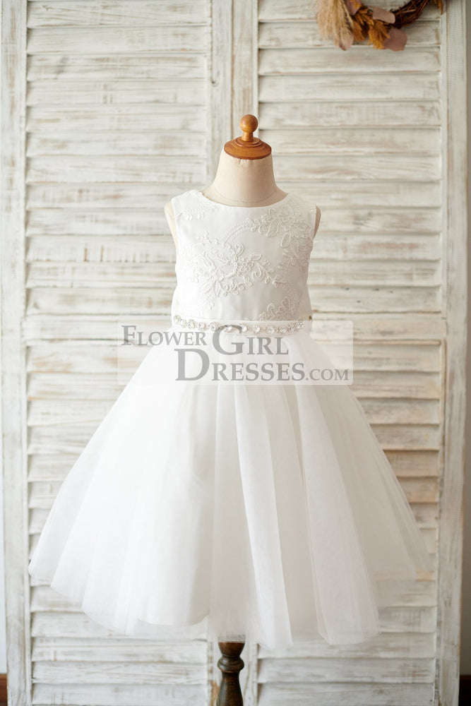 Princess V Back Ivory Lace Tulle Wedding Flower Girl Dress with Big Bow