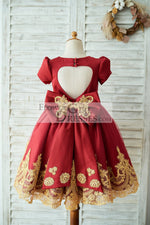 Red Satin Gold Lace Short Sleeves Keyhole Back Wedding Flower Girl Dress with Bow