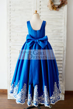Royal Blue Satin Square Neck Wedding Party Flower Girl Dress with Lace Trim
