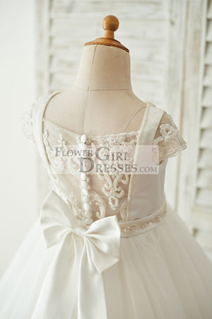 Satin Tulle Beaded Lace Cap Sleeves Sheer Back Wedding Flower Girl Dress with Bow