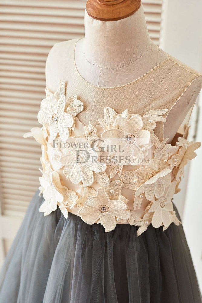 Sheer Illusion Neck Gray Tulle Wedding Flower Girl Dress with Champagne 3D Flowers