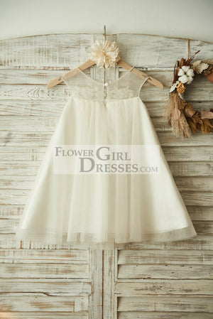 Sheer Neck ChampagneTulle Lace Wedding Flower Girl Dress with Pearls