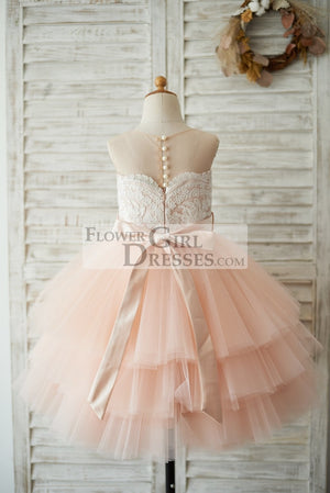 Sheer Neck Peach Pink Tulle Lace Cupcake Skirt Wedding Flower Girl Dress with Beaded Sash