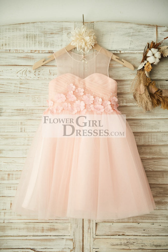 Sheer Neck Pink Tulle Wedding Flower Girl Dress with Beading and 3D Flower