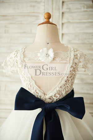Short Sleeves V Back Lace Tulle Wedding Flower Girl Dress with Navy Blue Belt