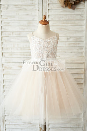 Spaghetti straps Ivory lace Peach Pink Tulle V Neck Wedding Flower Girl Dress