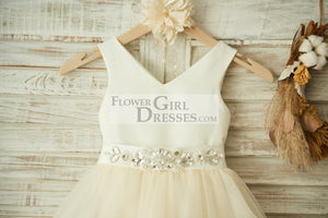 V Neck Ivory Satin Champagne Tulle Wedding Flower Girl Dress with Beaded Belt