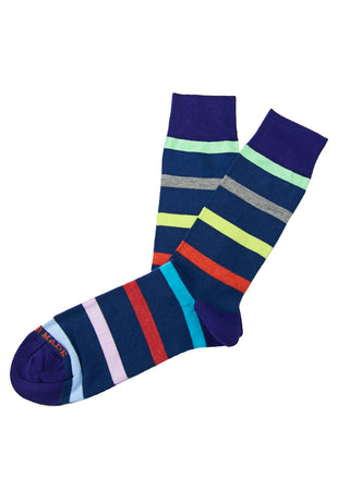 Blue/multi stripe sock