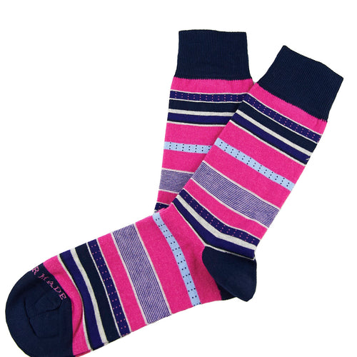 Pink/purple dotted stripe sock Swatch