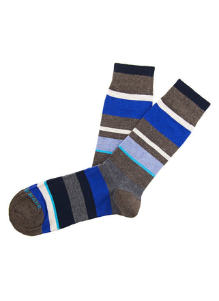 Brown/grey/blue stripe sock