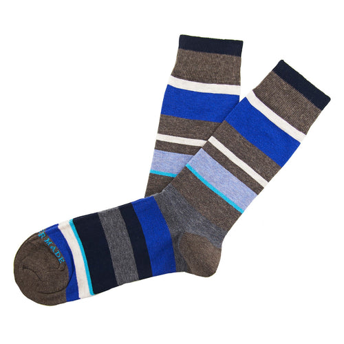 Brown/grey/blue stripe sock Swatch
