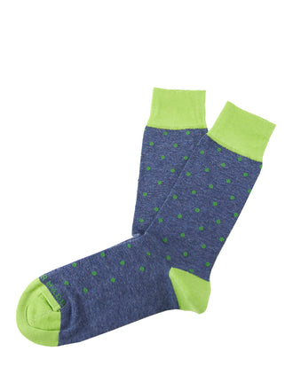 Navy/green small dot sock