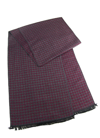Burgundy/grey houndstooth scarf