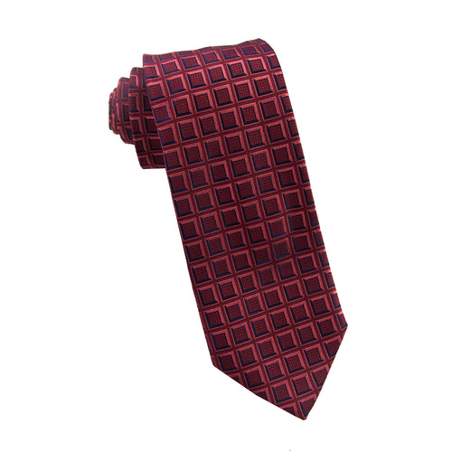 Red geometric tie - 4279 Swatch