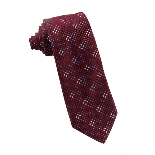 Burgundy grid tie - 4608 Swatch