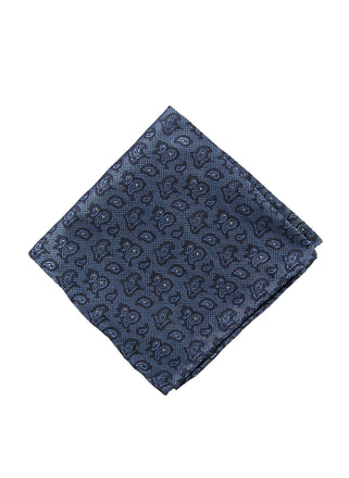 Grey paisley pocket square - 4607
