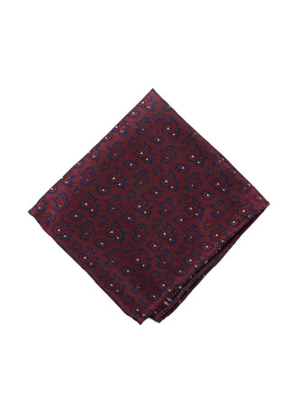 Burgundy paisley pocket square - 4607