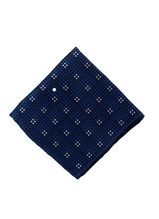 Navy grid pocket square - 4608