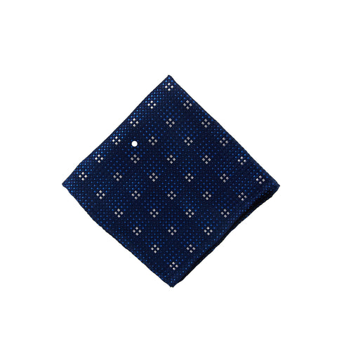 Navy grid pocket square - 4608 Swatch