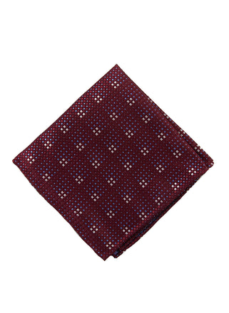 Burgundy grid pocket square - 4608