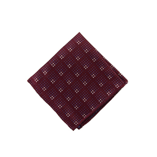 Burgundy grid pocket square - 4608 Swatch