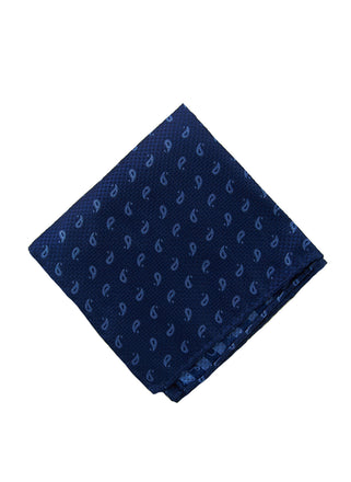 Blue paisley pocket square - 4601